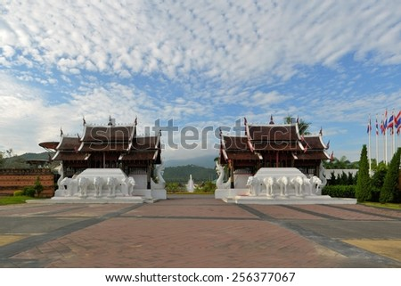 Traditional thai architecture in the Lanna style entrance of Royal Flora Expo, Chiang Mai, Thailand - stock photo