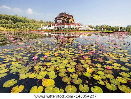 Traditional thai architecture in the Lanna style , Royal Pavilion (Ho Kum Luang) at Royal Flora Ex - stock photo