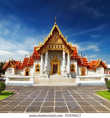 Traditional Thai architecture, Wat Benjamaborphit or Marble Temple, Bangkok - stock photo