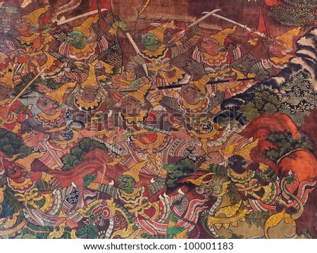 Traditional Thai mural on temple wall - stock photo