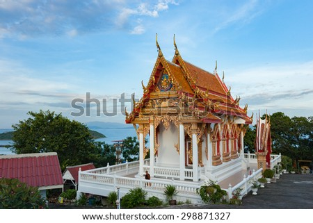 traditional thai style art of church in temple on island - stock photo