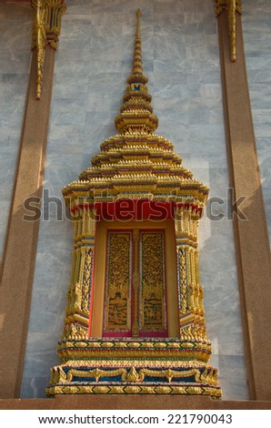 Traditional Thai style church window - stock photo