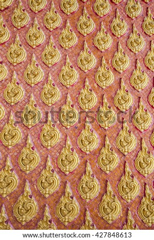 Traditional Thai style painting interiors art on temple wall , Bangkok,Thailand. - stock photo