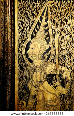 Traditional Thai style painting on the wooden wall - stock photo
