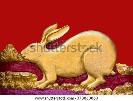 Traditional Thai style pattern decorative stucco gold paint in Buddhist temple Chiang Rai,Thailand (The Year of the Rabbit) - stock photo