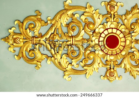 Traditional Thai style Wood Carving - stock photo
