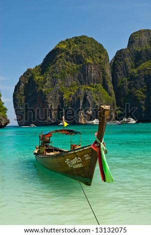 traditional Thailand boat, Phi Phi island, Thailand - stock photo