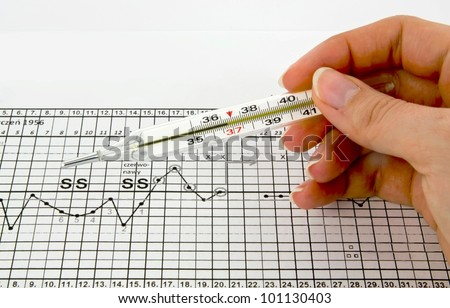 Traditional thermometer, graphs and fertility chart - stock photo
