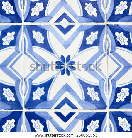Traditional tiles (azulejos) in Lisbon, Portugal - stock photo