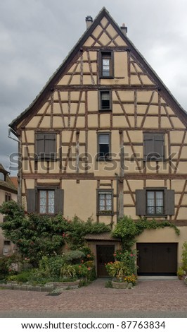 traditional timbered house facade in Selestat - stock photo