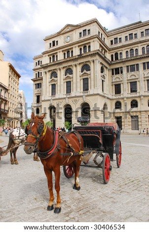 Traditional transportation with horse and carriage in Havana, Cuba - stock photo