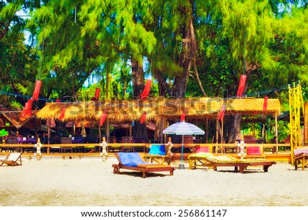 traditional tropical resort in Koh Lanta, Thailand - stock photo
