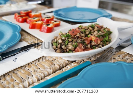 Traditional Turkish Food Cowpea Salad - stock photo