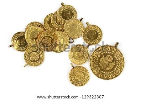 Traditional Turkish gold coins - stock photo