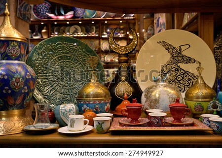 Traditional turkish porcelains aand other at Grand Bazaar, Istanbul, Turkey. - stock photo