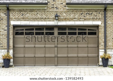 Traditional two car wooden garage - stock photo