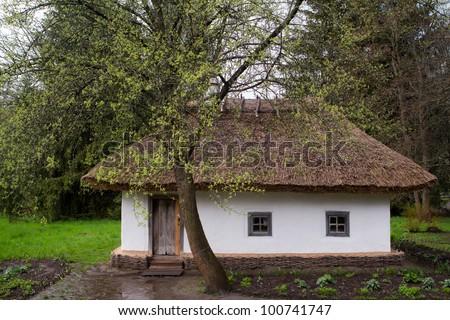Traditional ukrainian rural house. Spring, rain. - stock photo