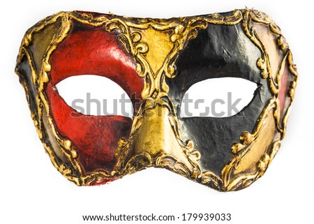 traditional Venetian hand-painted mask made of plaster, isolated - stock photo