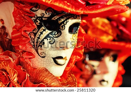 traditional Venice mask with colorful decoration - stock photo