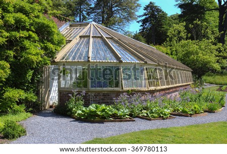 Traditional Victorian Greenhouse in a Country Cottage Garden in the Rural Village of Galmpton in the South of Devon, England, UK - stock photo
