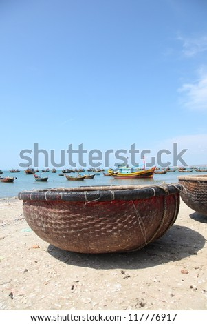 Traditional Vietnamese boat in the basket shaped , Mui Ne, Vietnam - stock photo