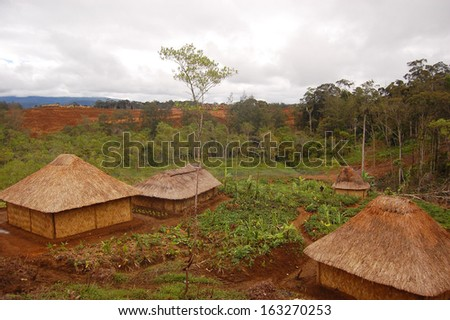 Traditional village in highlands - stock photo
