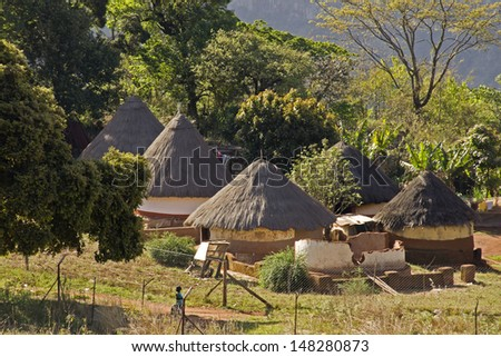 Traditional village in South Africa - stock photo