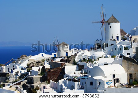 Traditional village on Santorini island, Cyclades, Greece - stock photo