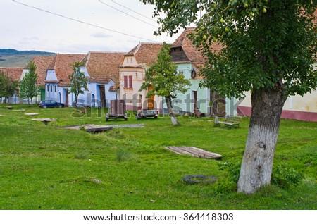 Traditional village Viscri in Romania - stock photo