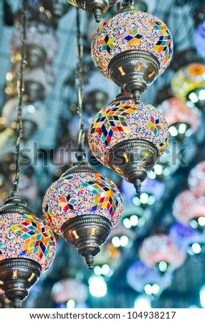 Traditional vintage Turkish lamps over light background - stock photo