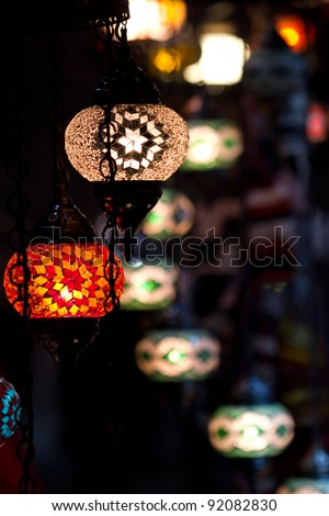 Traditional vintage Turkish lamps over light background in the night - stock photo