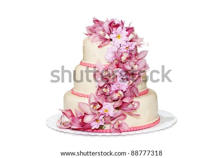 Traditional wedding cake on a white background - stock photo
