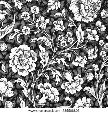 traditional   white and black floral decorative paper backdrop - stock photo