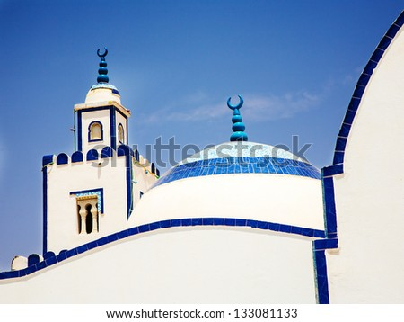 Traditional white-blue house from kairouan, Tunis - stock photo