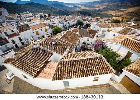 Traditional White houses in Zahara de la Sierra, Spain - stock photo