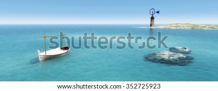 traditional windmill and traditional boat in the Balearic Islands, Spain - stock photo