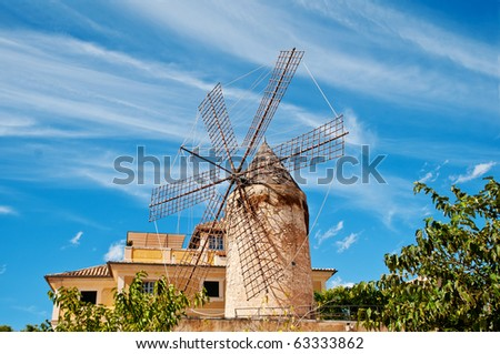 traditional windmill in palma, majorca - stock photo