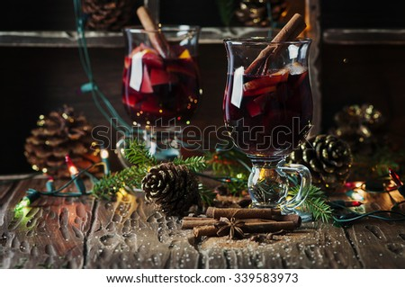 Traditional winter mulled wine and christmas ornament, selective focus - stock photo