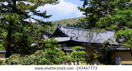 traditional wooden house, Japan at day - stock photo