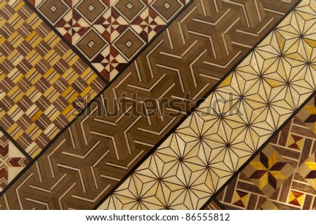 Traditional wooden mosaic of Japan - stock photo