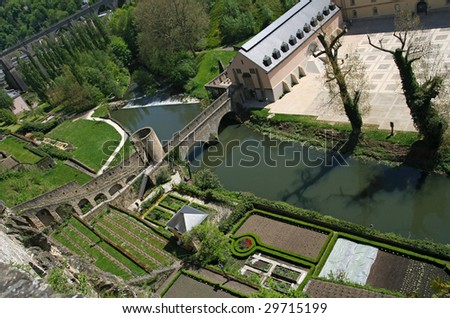 Traditionnal houses near Alzette river in the grund valley, center of Luxembourg city - stock photo