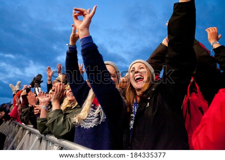 Traena, Norway - July 13 2013: during the concert of the German musician and singer Patrice at the Traenafestival, music festival taking place on the small island of Traena in Norway. - stock photo