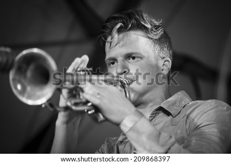 Traena, Norway - July 11 2014: during the concert of the Norwegian experimental jazz band Pixel  at the Traenafestival, music festival taking place on the small island of Traena - stock photo