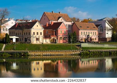 Traetskae Pradmestse (Trinity Suburb) - historical center of Minsk, Belarus - stock photo