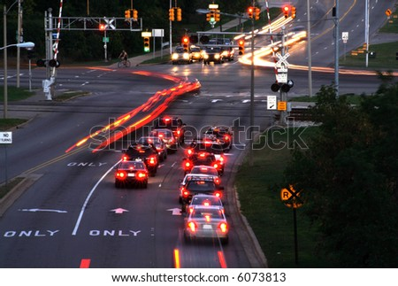 Traffic at dusk - stock photo