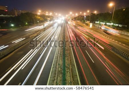 Traffic at night - stock photo