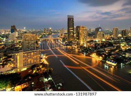 Traffic at night, Bangkok, Thailand - stock photo