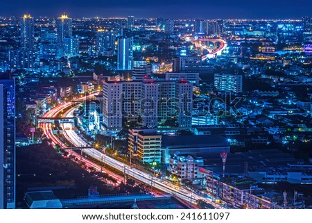 Traffic at night,The top view of Bangkok in Thailand.  - stock photo