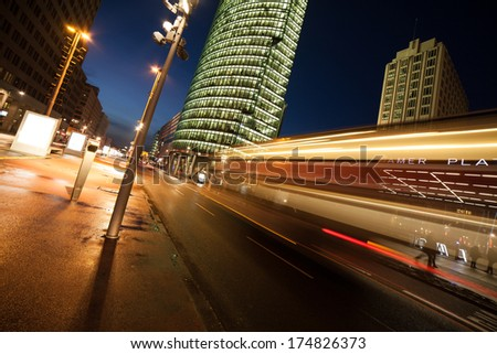traffic at potsdamer platz in berlin - stock photo