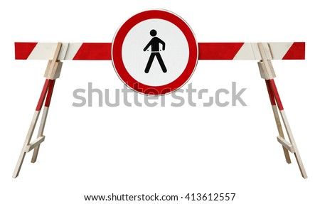 Traffic barrier striped obstacle with no pedestrian sign - stock photo